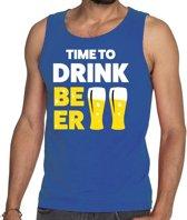 Time to drink Beer tekst tanktop / mouwloos shirt blauw heren - heren singlet Time to drink Beer M