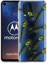 Motorola One Vision Hoesje Peacock Feathers