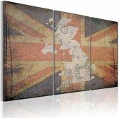 Schilderij - Kaart van Groot-Brittannië - Drieluik