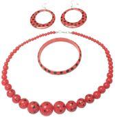 Spaanse armband, ketting en oorbellen set - rood met zwarte stippen - bij flamenco jurk -