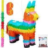 relaxdays 4-delige pinata set - lama - pinatastok - blinddoek - alpaca - confetti - bont