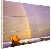 Dubbele regenboog op zee Hout 30x20 cm - Foto print op Hout (Wanddecoratie)