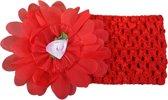 Jessidress Hoofdband Baby Haarband met organza bloem - Rood