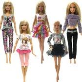 5 Fashion sets kleding voor modepop - Rokjes, broeken, shirts en trui