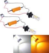 2 STKS T20 / 7440 10W 1000 LM 6000K Wit + Geel Licht DRL & Turn Light met 42 SMD-2835-LED Lamp, DC 12-24V