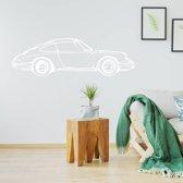 Muursticker Porsche -  Wit -  80 x 23 cm  - Muursticker4Sale