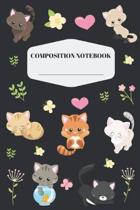 Cat Composition Notebook: Cute Cat Notebook for Elementary and Middle School Pretty Feline Kitten Composition Journal for Girls to Write in Beau