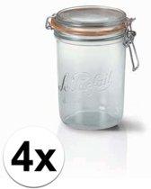 4x stuks weckpotten/inmaakpotten met klepdeksel 1 liter
