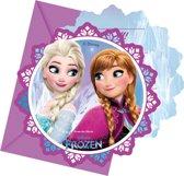 6 Frozen™ uitnodigingen en enveloppen - Feestdecoratievoorwerp