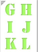 Lettersjabloon - G H I J K L - Kunststof A3 stencil - Kindvriendelijk sjabloon geschikt voor graffiti, airbrush, schilderen, muren, meubilair, taarten en andere doeleinden
