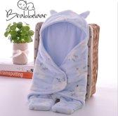 Brabbelaar - Baby Inbakerdoek - inbakerslaapzak - Pasgeboren 0-8 mnd - 78cm - Baby blauw