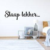 Muursticker Slaap Lekker -  Donkerblauw -  120 x 30 cm  - Muursticker4Sale