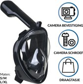 Gadgy® - Duikmasker - Full face duikbril met snorkel - snorkelset zwart - snorkelmasker Maat L/XL