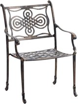 Clp Tuinstoel RAJANA stapelbaar van gietaluminium, retro look, buitenstoel, bistro, vintage, balkonstoel, terrasstoel, nostalgisch design, weerbestendige bistrostoel, roestbestendig door poedercoating - bronskleur