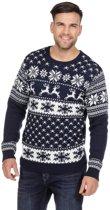 Donkerblauwe kerst trui met rendieren voor heren 52 (L)
