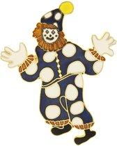 Behave® Broche clown blauw wit emaille