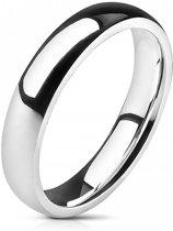 Ring Dames - Heren Ring - Zilverkleurig - Zilver Kleur - Glimmende Ring met Afgeronde Hoeken - Glow