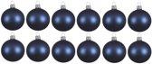 12x Donkerblauwe glazen kerstballen 10 cm - Mat/matte - Kerstboomversiering donkerblauw