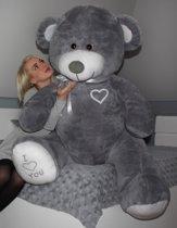 Grote knuffelbeer - grijs - teddybeer met i love you tekst