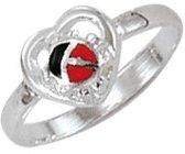 Classics&More Zilveren Ring - Maat 48 - 6.5 mm - Lieveheersbeestje In Hart