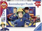 Ravensburger Brandweerman Sam helpt je uit de brand- Twee puzzels van 24 stukjes - kinderpuzzel