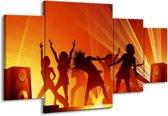 Canvas schilderij Dansen | Rood, Zwart, Geel | 160x90cm 4Luik