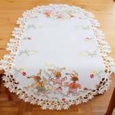 Tafelkleed Creme met Paashazen| Loper 120 x 60 cm| Ovaal