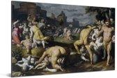 De kindermoord in Bethlehem - Schilderij van Cornelis Cornelisz van Haarlem Aluminium 90x60 cm - Foto print op Aluminium (metaal wanddecoratie)