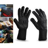 2x Unado Premium Hittebestendige Aramide Kevlar BBQ handschoenen & Oven handschoen Tot 500 °C/ 932°F - Anti-Slip Oven Handschoenen - Dubbel Gevoerd - Zwart