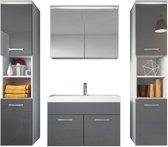 Badplaats Badkamermeubel Paso XL LED 80cm Hoogglans grijs - Complete set met spiegelkast