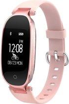 Nieuwste Mode Activity Tracker Armband voor Vrouwen met HartslagMeter StappenTeller CalorieMeter Pols SmartBand Fitness Tracker - Roze - Polsomtrek 13 cm tot 18 cm