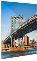 Manhattan brug in New York City Glas 80x120 cm - Foto print op Glas (Plexiglas wanddecoratie)