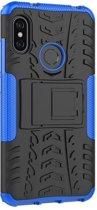 Teleplus Xiaomi Mi 8 Dazzle Armor Stand Tank Cover Case Blue + Nano Screen Protector hoesje