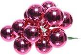 50x Mini glazen kerstballen kerststekers/instekertjes fuchsia roze 2 cm - Fuchsia roze kerststukjes kerstversieringen glas