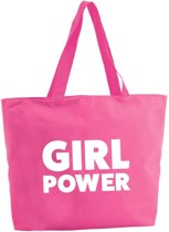 Girl Power shopper tas - fuchsia roze - 47 x 34 x 12,5 cm - boodschappentas / strandtas