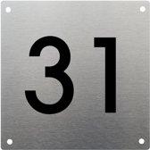 RVS huisnummer 15x15cm nummer 31