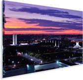 Zonsondergang boven de hoofdstad Brasília in Brazilië Plexiglas 60x40 cm - Foto print op Glas (Plexiglas wanddecoratie)