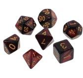 7 delige set dobbelstenen voor Dungeon & Dragons (D&D) - Inclusief opbergzakje  - Rood zwarte Polydice set