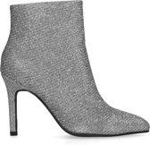 Sacha - Dames - Zilveren glitter enkellaarsjes met naaldhak - Maat 38