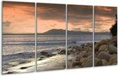 Glasschilderij Zee | Blauw, Grijs, Wit | 160x80cm 4Luik | Foto print op Glas |  F000612