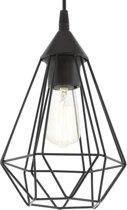 EGLO Vintage Tarbes - Hanglamp - Draadlamp - 1 Lichts - Ø170mm. - Zwart