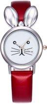 Konijn Horloge - Rood in Horlogedoosje