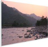 Zonsondergang bij de rivier in het Nationaal park Chitwan in Nepal Plexiglas 30x20 cm - klein - Foto print op Glas (Plexiglas wanddecoratie)
