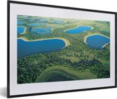 Foto in lijst - Foto vanuit lucht van de Pantanal in Zuid-Amerika fotolijst zwart met witte passe-partout 60x40 cm - Poster in lijst (Wanddecoratie woonkamer / slaapkamer)