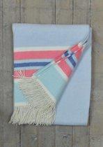 Exclusief Lamswollen plaid uit Schotland Blue, Red & White