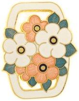 Behave® Dames Broche rechthoek bloemetjes wit - emaille sierspeld -  sjaalspeld  4,3 cm