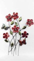 Metalen wanddecoratie takken met bloemen en vlinders - 61 x 80 cm