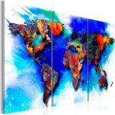 Canvas Schilderij - Regenboog kaart, Multi-gekleurd, 2 Maten, 3luik
