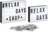 relaxdays 2 x light box LED - lichtbak - lightbox - letters en getallen - letterbox - wit