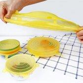 Siliconen deksels set van 6 - Herbruikbaar folie voor vershouden van voedsel - Geel